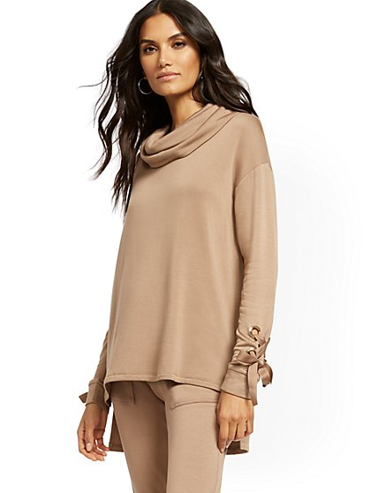 Dreamy Fleece Off-The-Shoulder Lace-Up Cuff Top - New York & Company