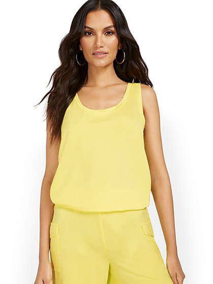 Dreamy French Terry Scoopneck Tank - New York & Company