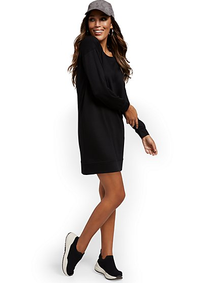 Dreamy French Terry Slouch Sweatshirt Dress - New York & Company