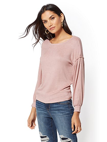 Drop-Shoulder Puff-Sleeve Top - New York & Company