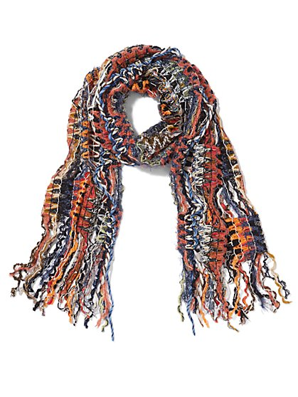 Earth Tone Multi Yarn Fringe Scarf - Sweet Pea - New York & Company