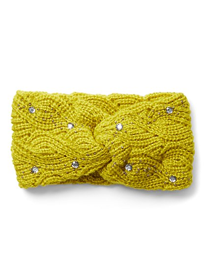 Embellished Cable-Knit Head Wrap - New York & Company