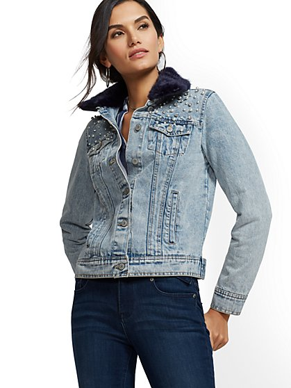 Embellished Denim Jacket - New York & Company