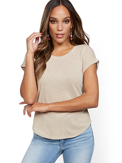Embellished Linen Tee - New York & Company