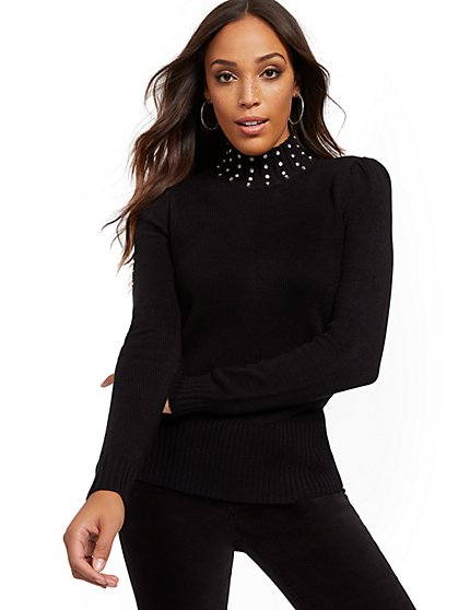 Embellished Mock-Neck Puff-Sleeve Sweater - New York & Company