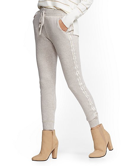 Embellished Trim Super-Soft Knit Slim Jogger Pant - Soho Street - New York & Company