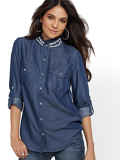 Embellished Ultra-Soft Chambray Shirt - Indigo Blue - New York & Company