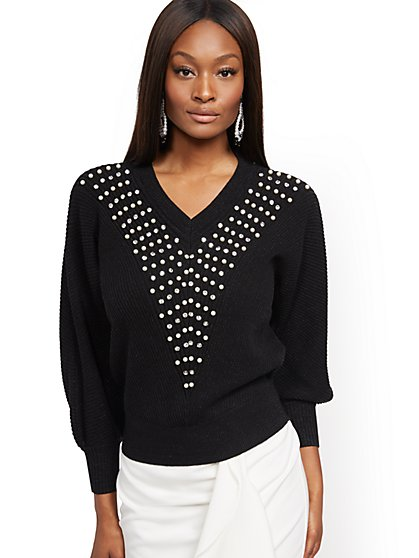 Embellished V-Neck Dolman Sweater - New York & Company