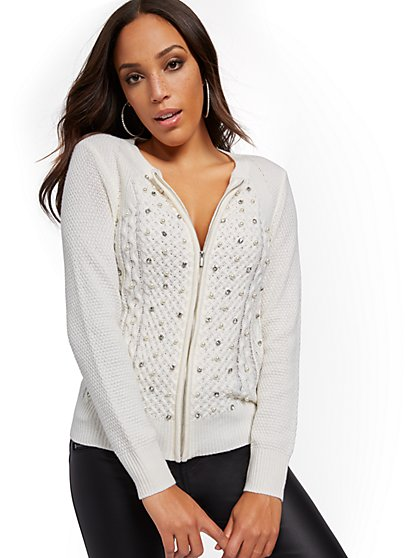 Embellished Zip-Front Cardigan Sweater - New York & Company
