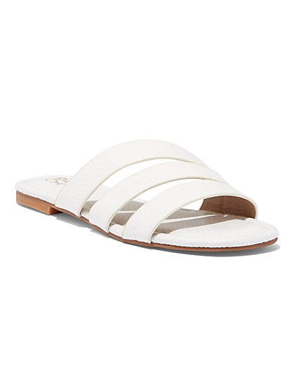 Embossed 3-Strap Sandal - New York & Company