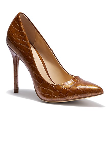 Embossed Faux-Leather Pump - Eva Mendes Collection - New York & Company
