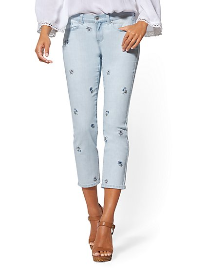 Embroidered Crop Straight Leg Jeans - Indigo - Soho Jeans - New York & Company