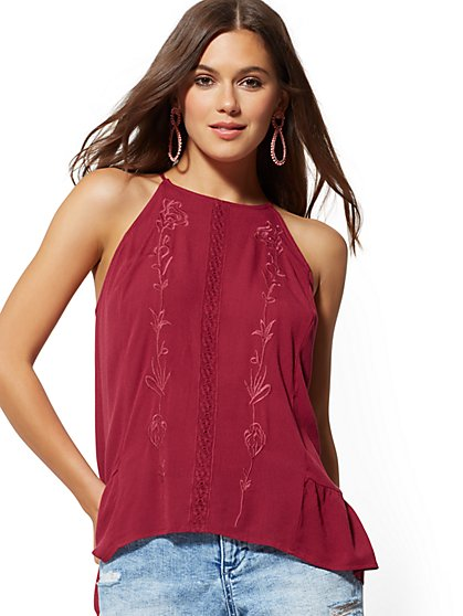 Embroidered Lace Halter Blouse - New York & Company