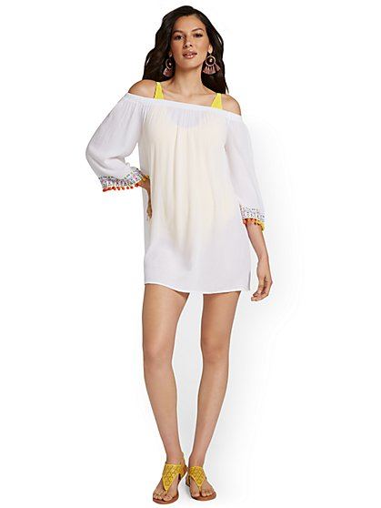 Embroidered Off-The-Shoulder Coverup - NY&C Swimwear - New York & Company