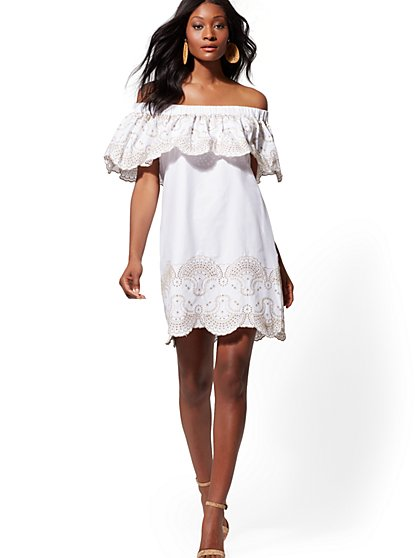 Embroidered Off-The-Shoulder Shift Dress - Lily & Cali - New York & Company
