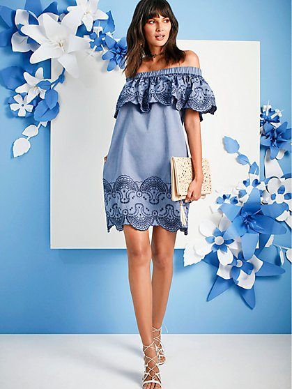 518b77104a Embroidered Off-The-Shoulder Shift Dress - Lily   Cali - New York