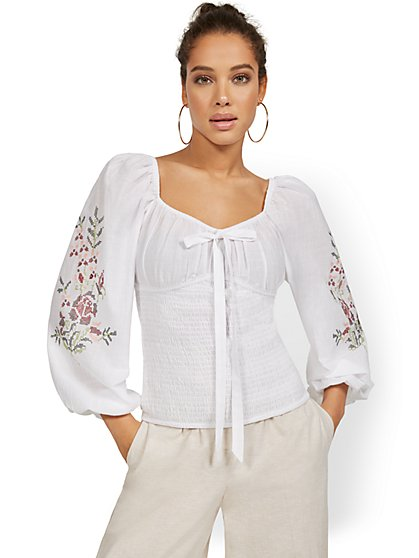 Embroidered Smocked Top - New York & Company
