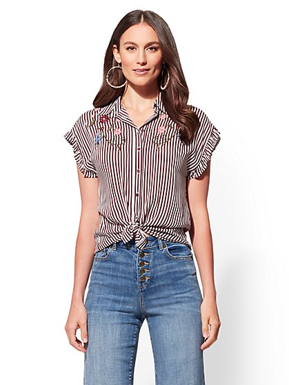 Embroidered Stripe Shirt - New York & Company