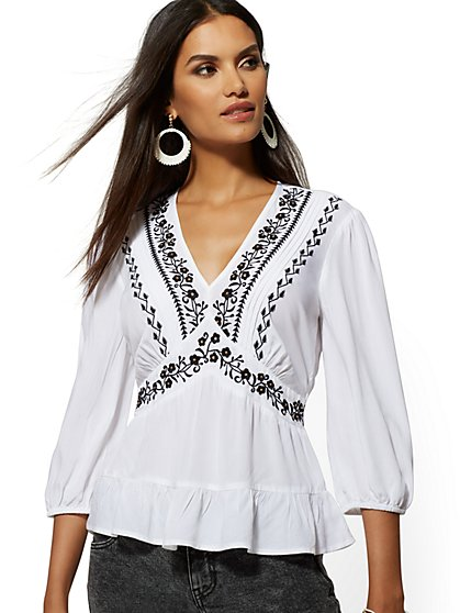 Embroidered V-Neck Peasant Blouse - New York & Company