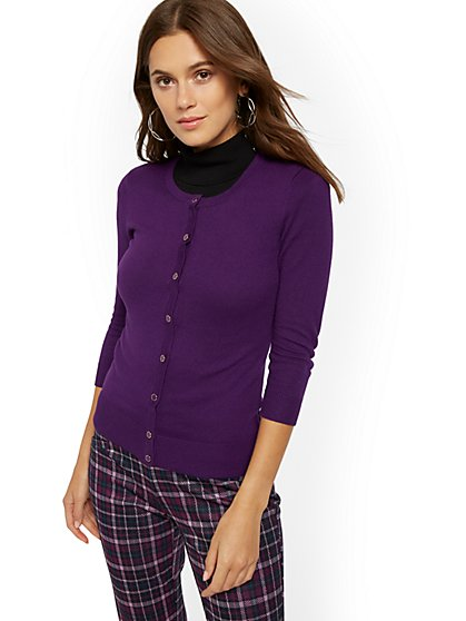Enamel-Button Crewneck Chelsea Cardigan - 7th Avenue - New York & Company