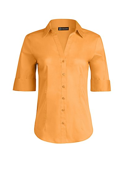 Enamel-Button Madison Stretch Shirt - Secret Snap - 7th Avenue - New York & Company