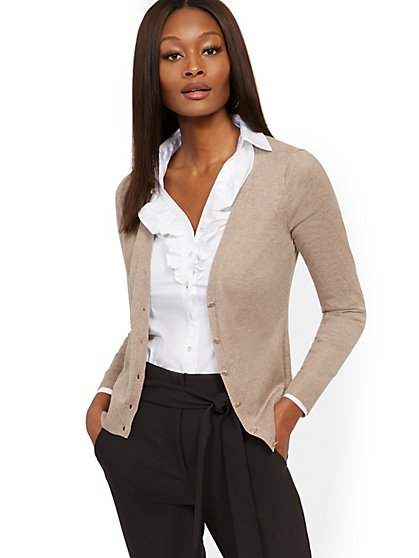 Enamel-Button V-Neck Chelsea Cardigan - 7th Avenue - New York & Company