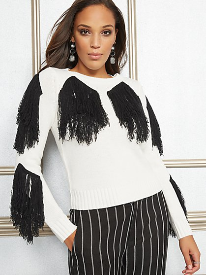 Eva Mendes Collection - Ariel Fringe Sweater - New York & Company