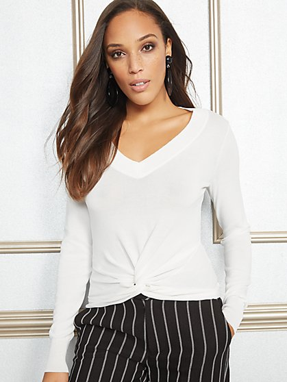 Eva Mendes Collection - Blair Twist-Front Sweater - New York & Company