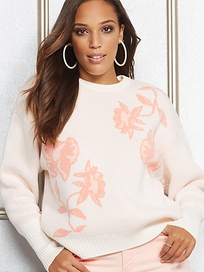 Eva Mendes Collection - Britt Floral Jacquard Sweater - New York & Company