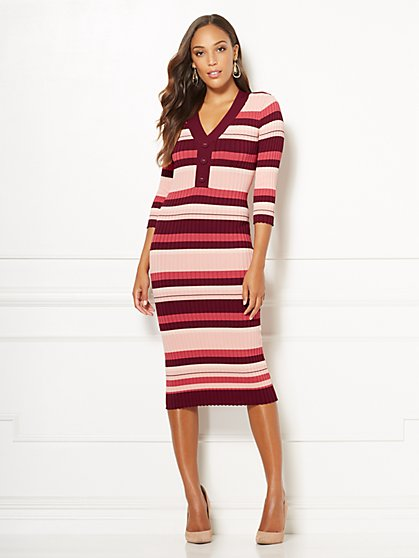 Eva Mendes Collection - Cherelle Stripe Sweater Dress - New York & Company