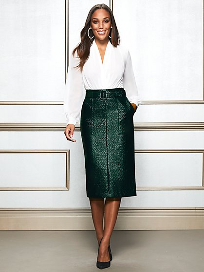 Eva Mendes Collection - Dark Green Glenda Pencil Skirt - New York & Company