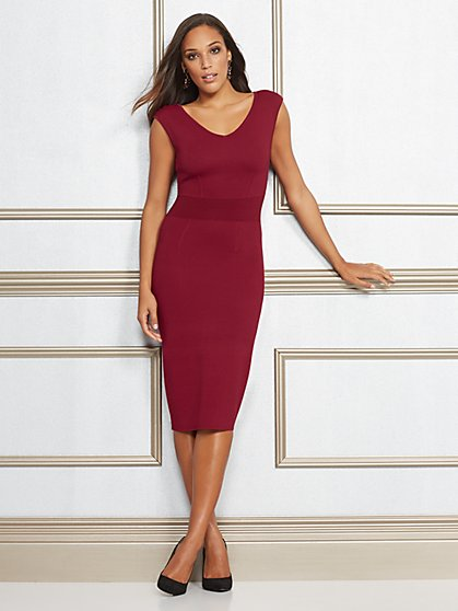 Eva Mendes Collection - Dascha V-Neck Sweater Dress - New York & Company