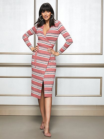 Eva Mendes Collection - Delora Metallic Stripe Sweater Dress - New York & Company