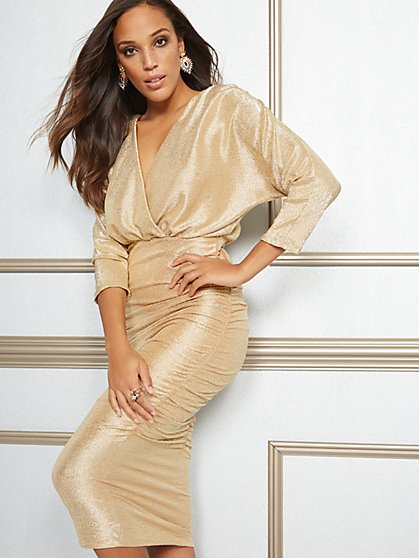 Eva Mendes Collection - Farah Metallic Midi Dress - New York & Company