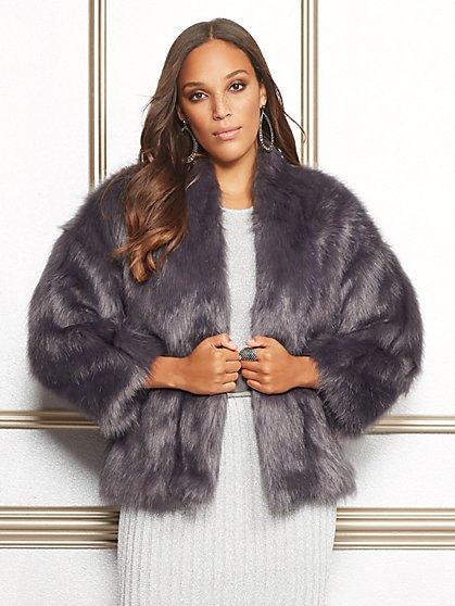 Eva Mendes Collection - Ilana Faux-Fur Coat - New York & Company