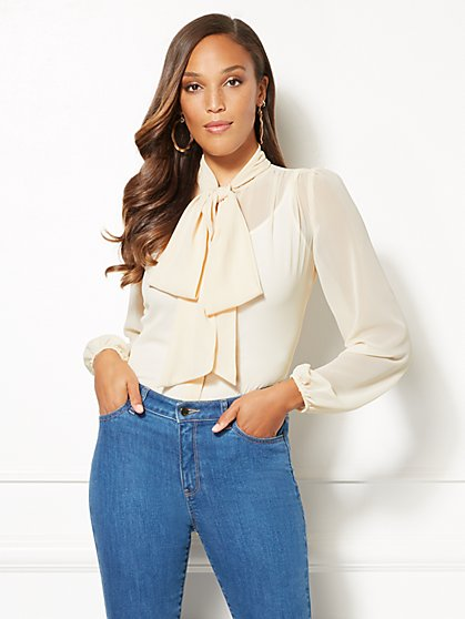 Eva Mendes Collection - Ivory Linnea Bow Blouse - New York & Company