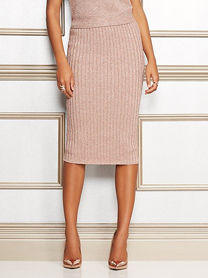 Eva Mendes Collection - Jacqui Metallic Sweater Skirt - New York & Company