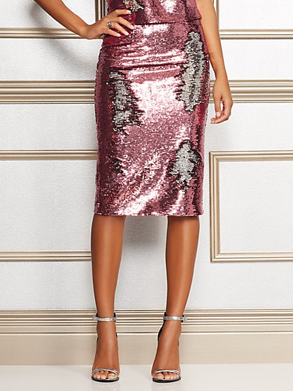 Eva Mendes Collection - Kat Pink Sequin Skirt - New York & Company