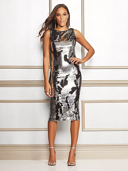 Eva Mendes Collection - Leanne Sequin Midi Sheath Dress - New York & Company