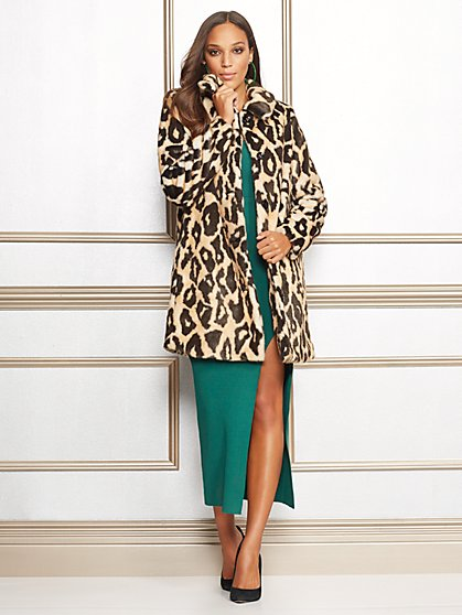 Eva Mendes Collection - Leopard-Print Felice Coat - New York & Company