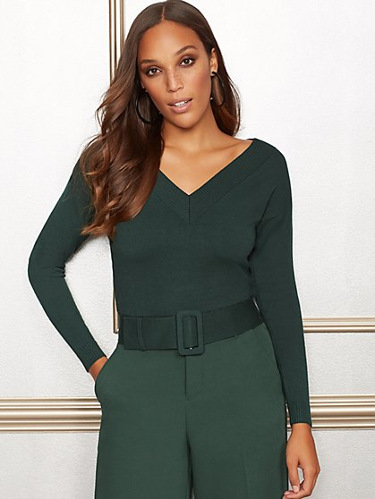 Eva Mendes Collection - Lucia V-Neck Belted Sweater - New York & Company