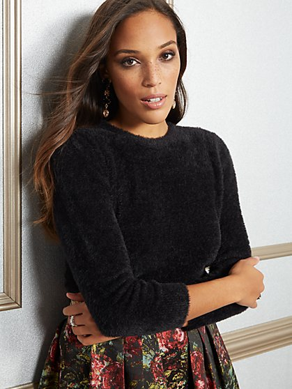Eva Mendes Collection - Marci Black Crop Sweater - New York & Company