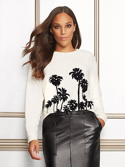 Eva Mendes Collection - Palm-Tree Graphic Sweatshirt - New York & Company