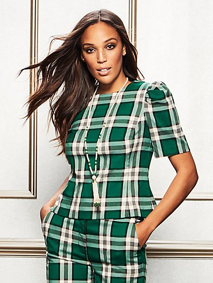 Eva Mendes Collection - Petite Jayda Green Plaid Blouse - New York & Company