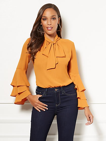 Eva Mendes Collection - Salena Flounced-Sleeve Blouse - New York & Company