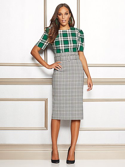 Eva Mendes Collection - Tall Deja Plaid Pencil Skirt - New York & Company