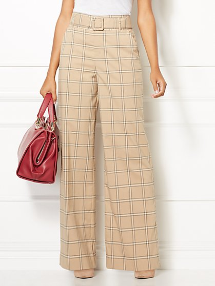 Eva Mendes Collection - Tall Plaid Carine Palazzo Pant - New York & Company
