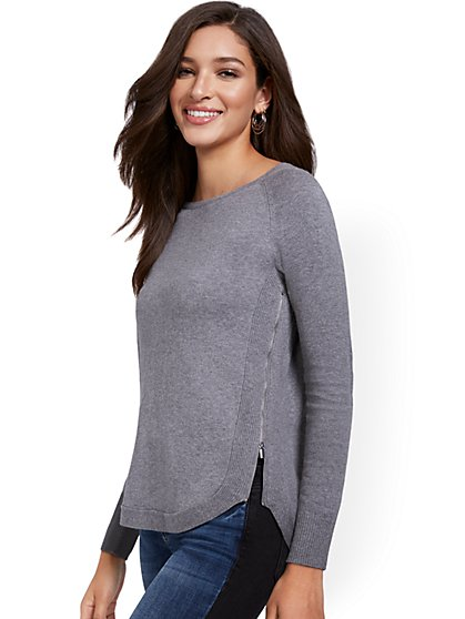 Exposed Zipper Long-Sleeve Sweater - New York & Company