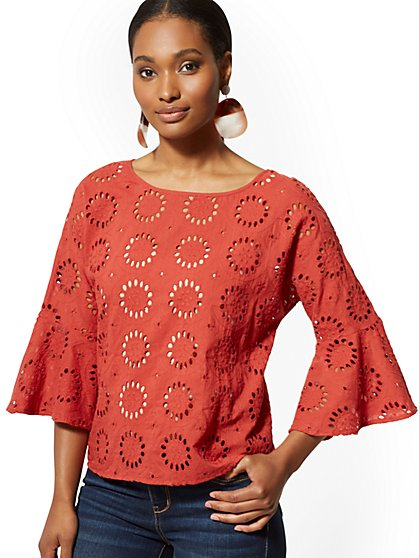 Eyelet Bell-Sleeve Blouse - New York & Company