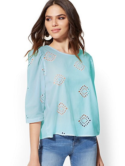 Eyelet Button-Back Shirt - New York & Company